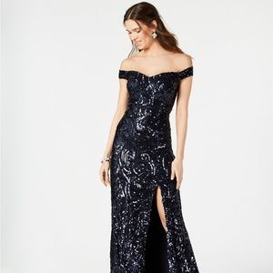 Nightway Sequined Off-The-Shoulder Gown Navy